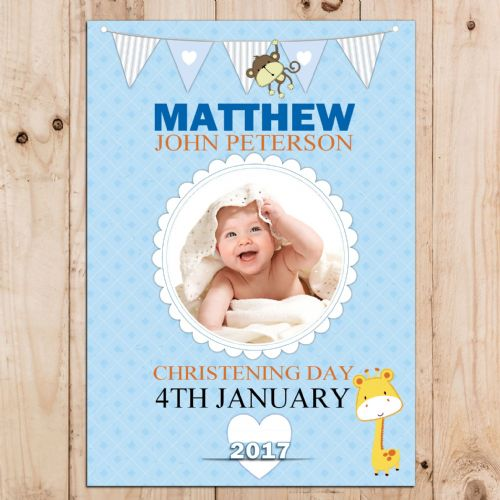 Personalised Boys Blue Christening Baptism Party PHOTO Banner Poster N62